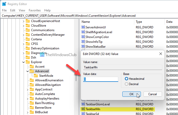 How to hide or remove Chat icon from Taskbar on Windows 11