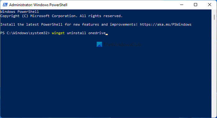 How to install or uninstall OneDrive using WinGet in Windows 11