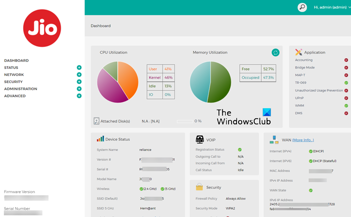 Router Settings Dashboard