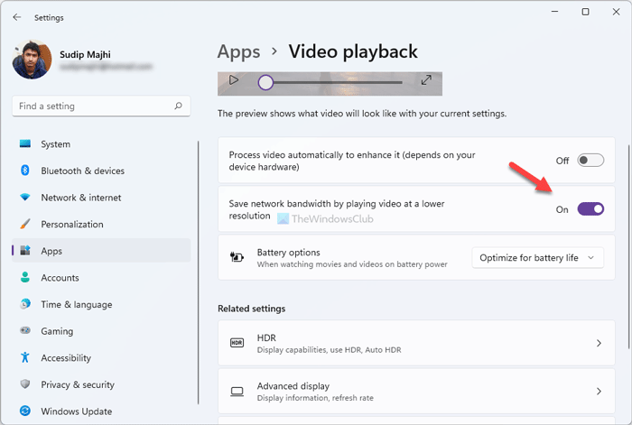 Save network bandwidth by playing video at a lower resolution on Windows 11