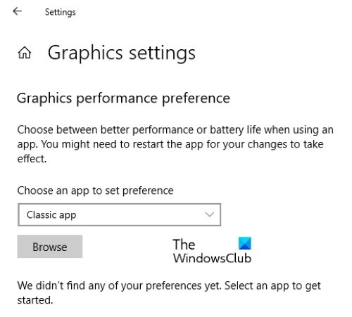 select classic app as app preference