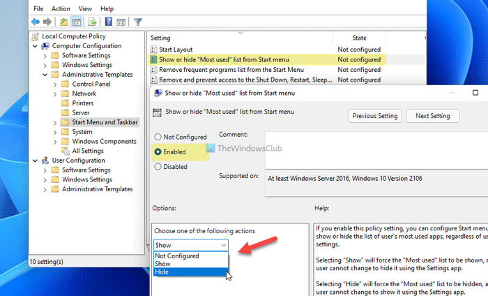 How to show or hide Most Used apps in Start Menu on Windows 11