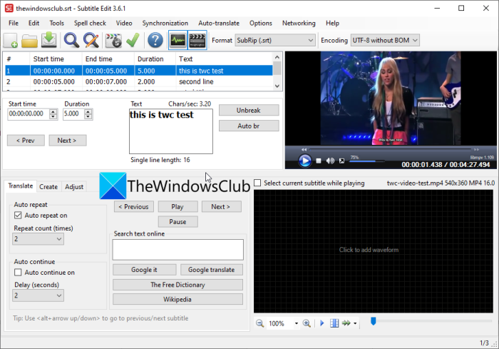 How to create SRT subtitles in Windows 11/10