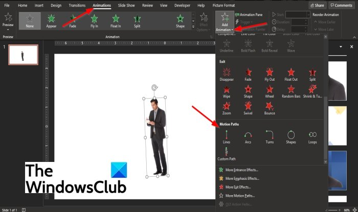 How to create and add a Motion Path animation in PowerPoint