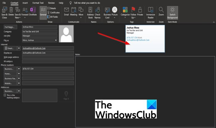 How to create Electronic Business Card in Outlook