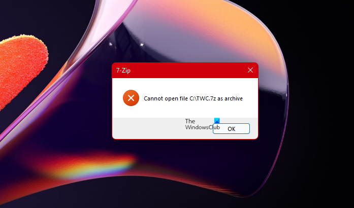 7-Zip cannot open file as archive error