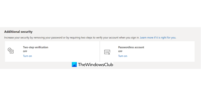 Additional Security Microsoft Account