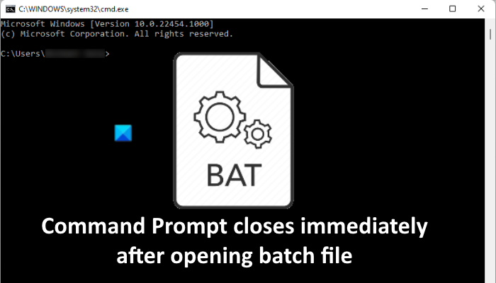 Command Prompt closes opening batch file