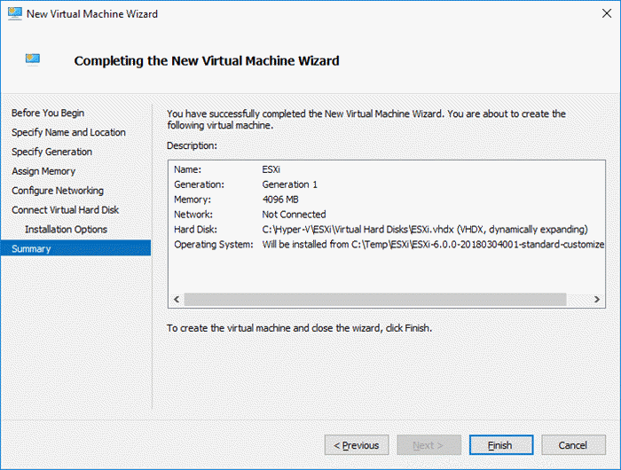 Create Hyper-V ESXi VM with Legacy Network Adapter