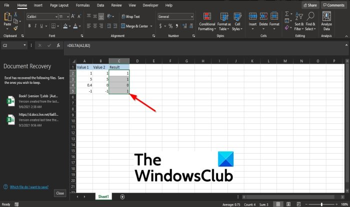 How to use the DELTA function in Microsoft Excel