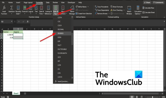 How to use the DEGREES function in Excel