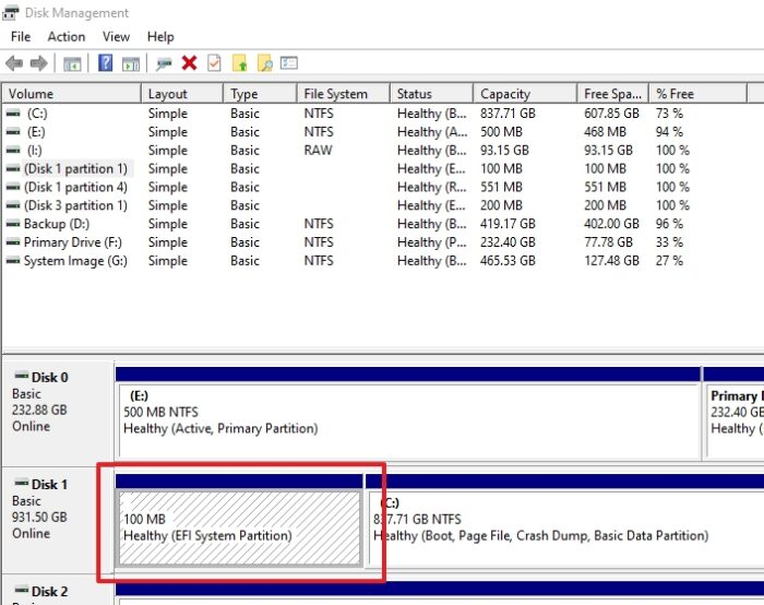 How to identify EFI System Partition Windows