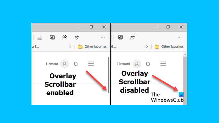 Enable or Disable Overlay Scrollbar in Microsoft Edge