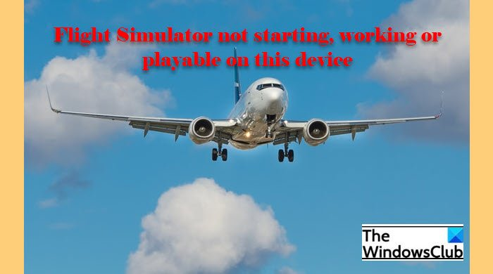 Flight Simulator not starting, working or playable on this device