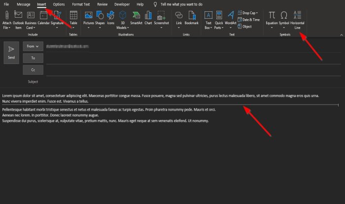 How to add Horizontal Line in Outlook email