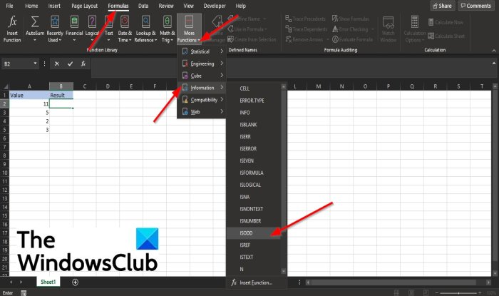 How to use the ISODD function in Excel