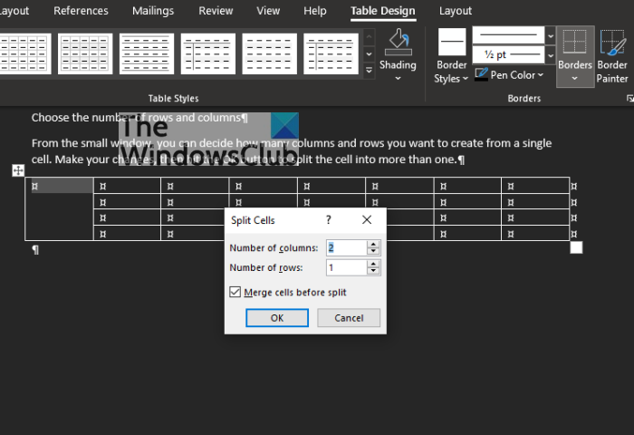 How to merge and split cells in Table in Microsoft Word