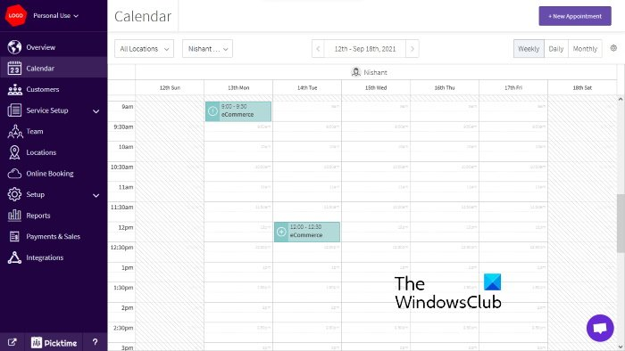 Picktime online appointment scheduling tool