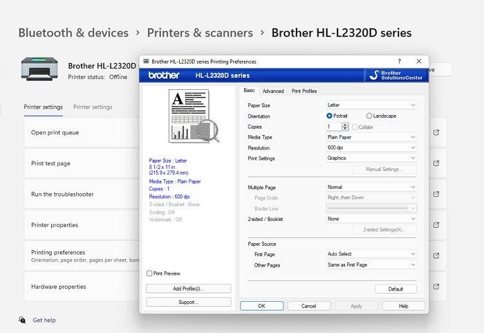 Printing Preferences Windows Printer