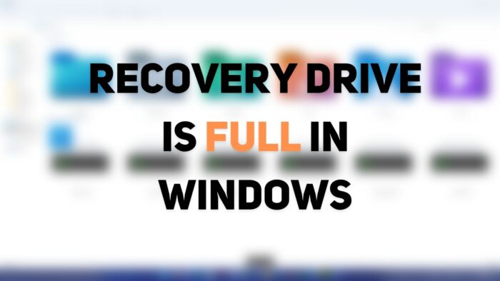 Recovery Drive is full in Windows