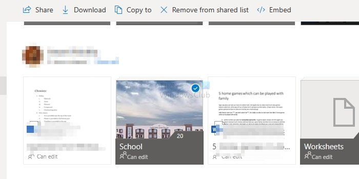 Remove from Shared List OneDrive