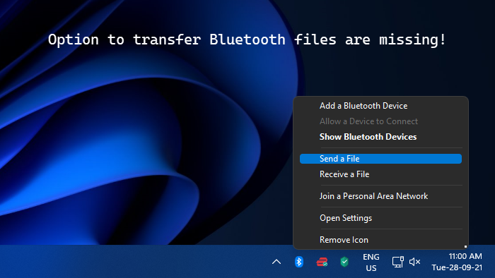 Send a File and Receive a File options missing in Bluetooth