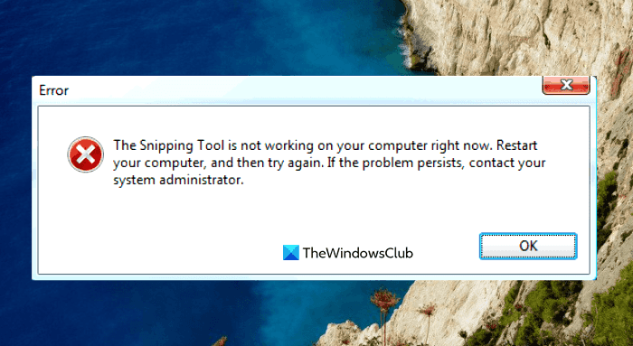 The Snipping Tool is not working on your computer right now.