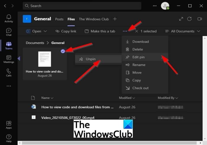 How to Pin a File in Microsoft Teams