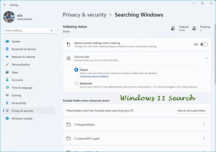 Configure Indexing Options & Settings for Windows 11 Search