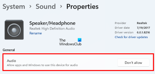 check if audio device is disabled