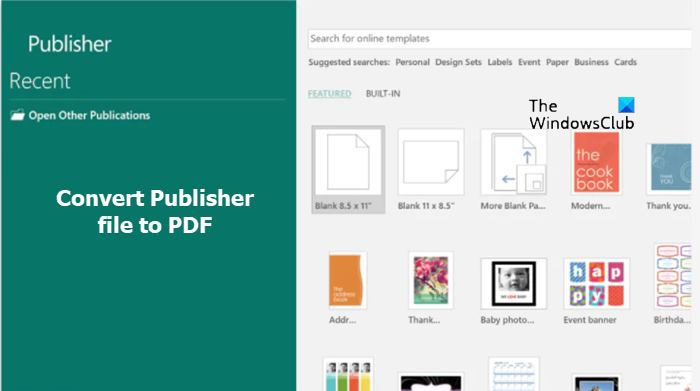 Convert Publisher File to PDF