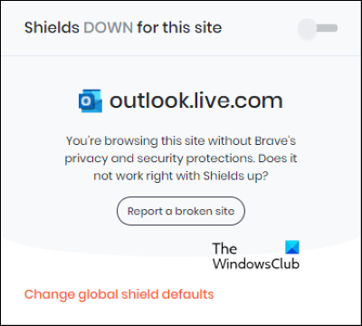 disable and re-enable Shields Brave