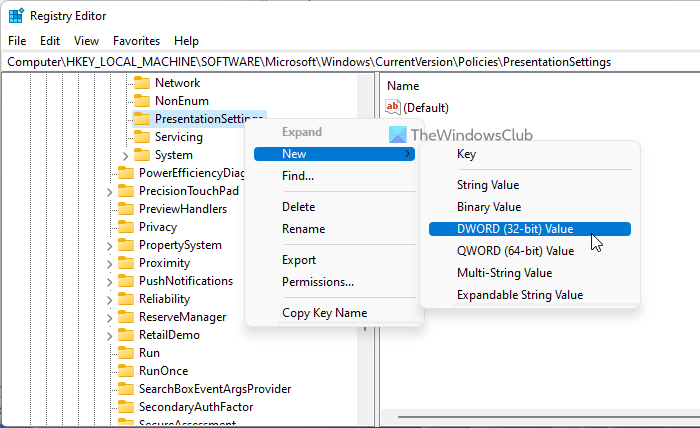 How to disable Windows Presentation Settings on Windows 11/10