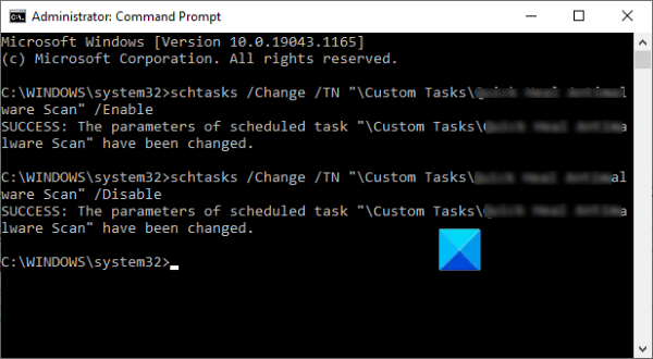 disable scheduled task Command Prompt