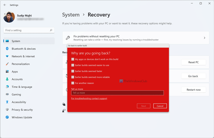 How to downgrade Windows 11 to previous version