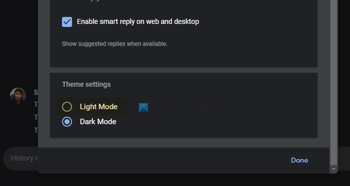 How to enable dark mode in Google Chat