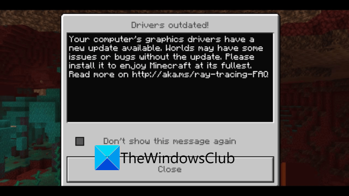 """How to Fix Minecraft """"Drivers Outdated"""" Message on Windows PC"""