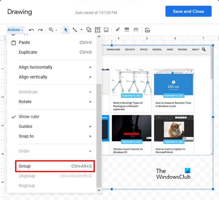 group images in Google Docs