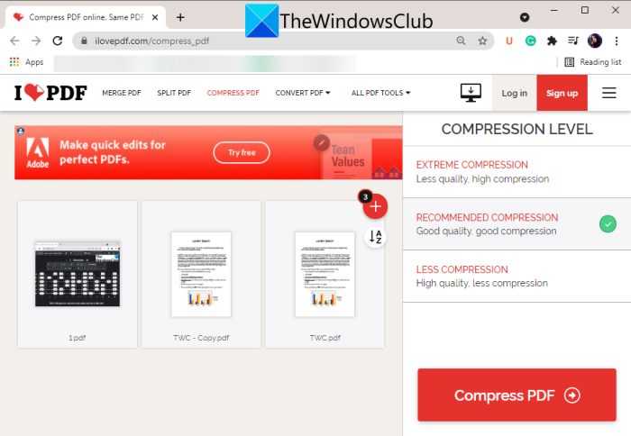 Batch Compress PDF files in Windows 11/10 using free software and online tools