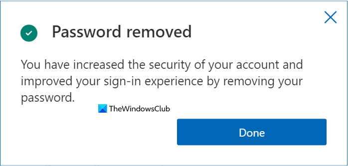password removed confirmation