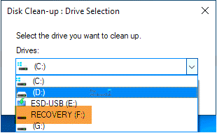 recovery drive disk cleanup