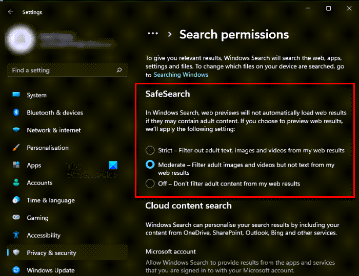 How to configure Search Settings & Permissions in Windows 11