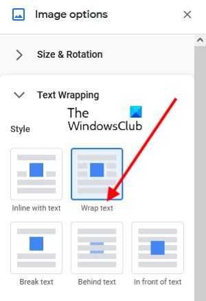 use wrap text in Google Docs