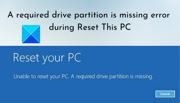 A required drive partition is missing error during Reset This PC