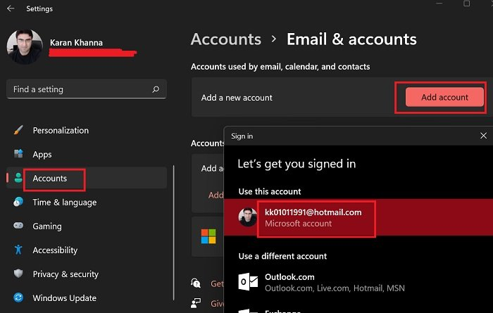Add new account to be used for email, calendar, and contacts