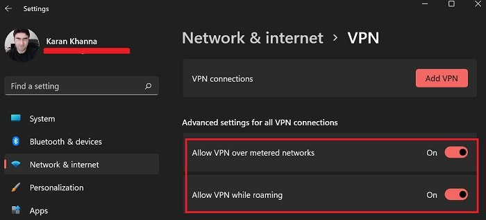 Allow VPN over metered connection and while roaming on your Windows 11 system