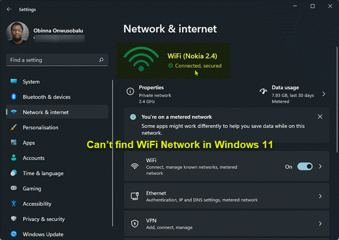 Can't find WiFi Network in Windows 11