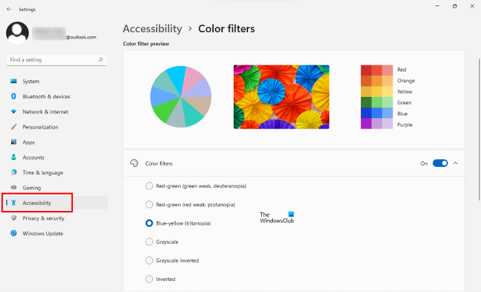Enable Color Filters Windows 11 Settings