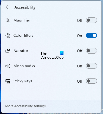 Enable Color Filters from the Taskbar