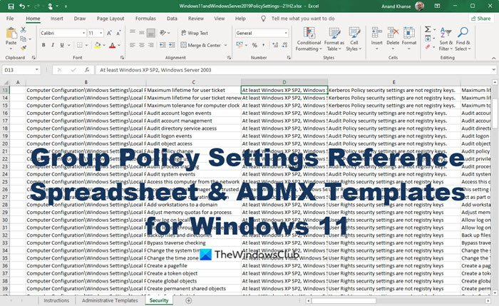 Group Policy Settings Reference Spreadsheet ADMX Templates for Windows 11Group Policy Settings Reference Spreadsheet ADMX Templates for Windows 11